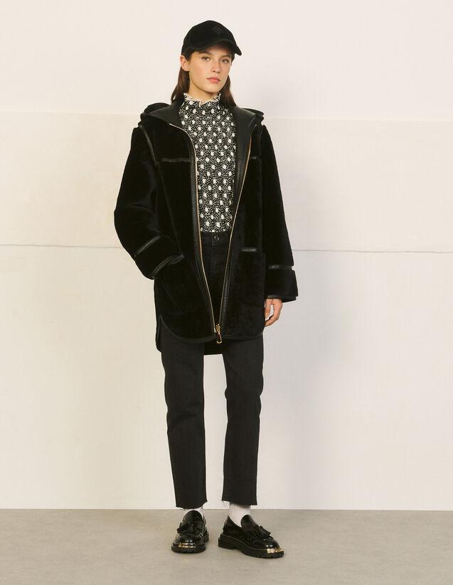 Hooded Sheepskin Coat : Coats color Beige