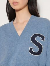V-Neck Wool Sweater : Sweaters & Cardigans color Blue Grey