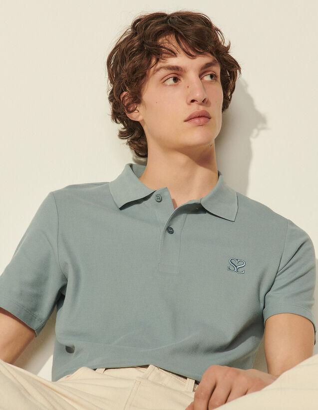 Embroidered Cotton Piqué Polo Shirt : T-shirts & Polo shirts color Ecru