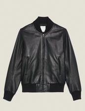 Zipped Leather Jacket : Trench coats & Coats color Black