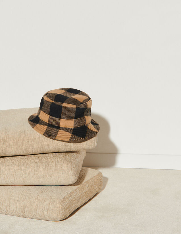 Checked Bucket Hat : Other accessories color Camel / Black