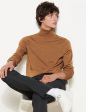 Roll Neck Wool Sweater : Sweaters & Cardigans color Camel