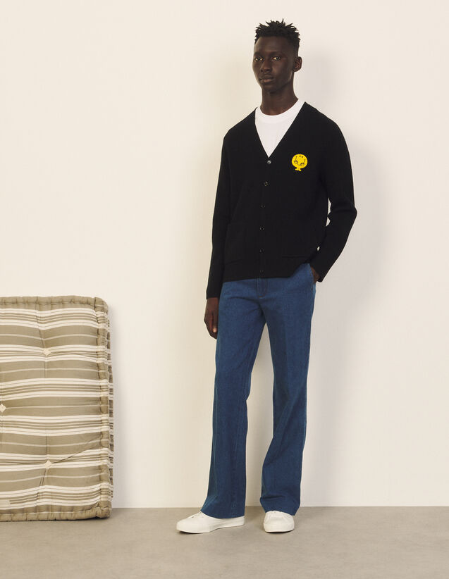 Wool Cardigan : Sweaters & Cardigans color Black