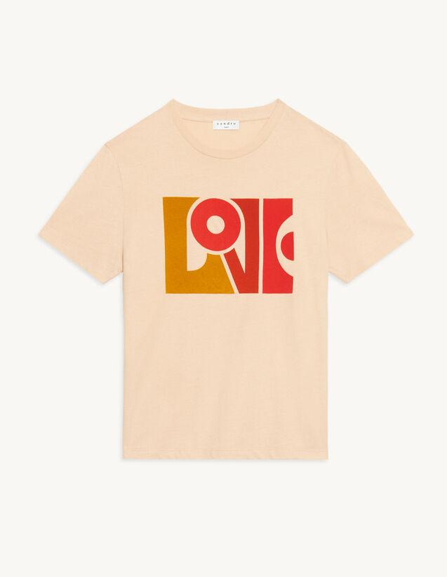 Love Flocked T-Shirt : T-shirts color Beige
