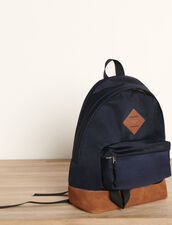 Nylon And Leather Backpack : Leather Goods color Navy Blue