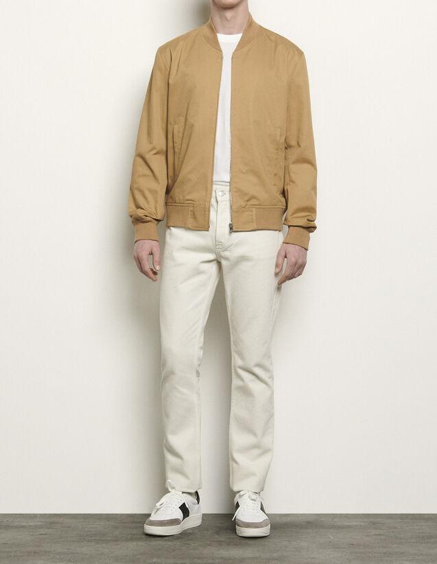 Japanese Cotton Varsity Jacket : Trench coats & Coats color Beige