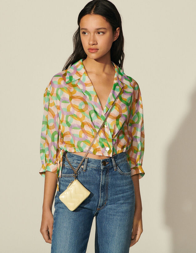 Printed Voile Shirt : Shirts color Green