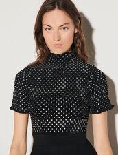 Smocked Velvet Dress With Rhinestones : Dresses color Black