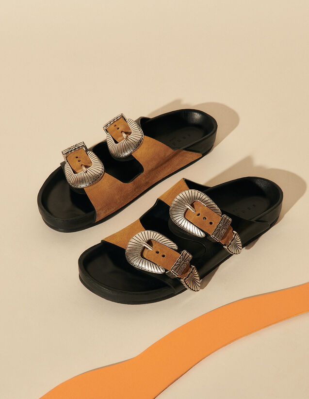 Leather Sandals With Jewelled Buckles : View All color Brown / Black