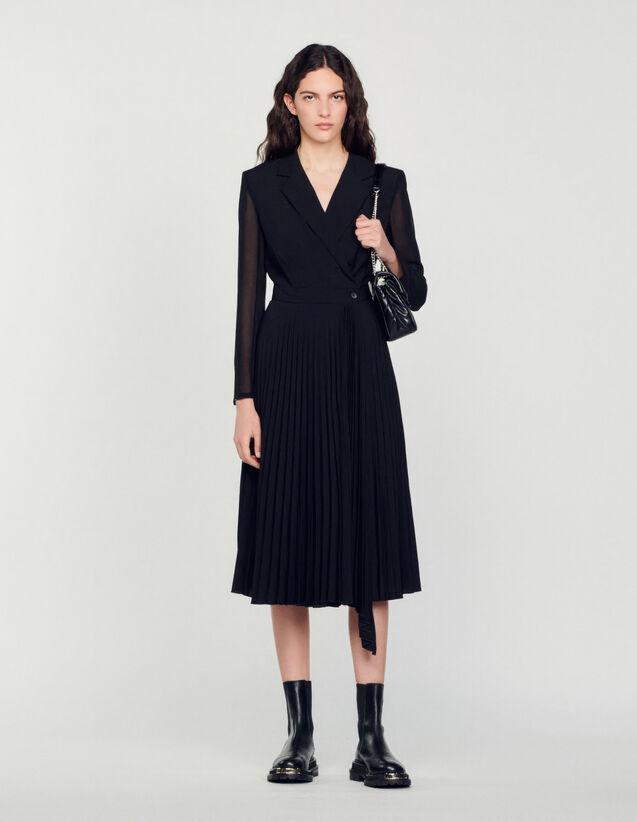 Dual-Material Long-Sleeved Dress : Dresses color Black