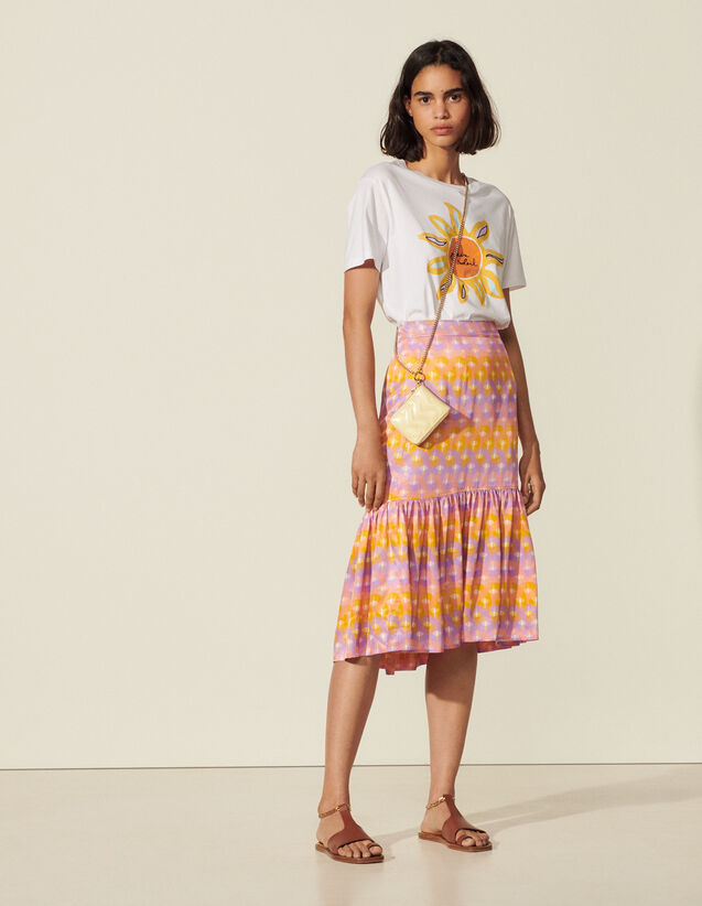 Long Printed Skirt : View All color Purple