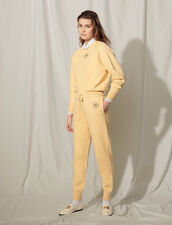 Knit Jogging Bottoms With Embroidery : Pants color Light Yellow