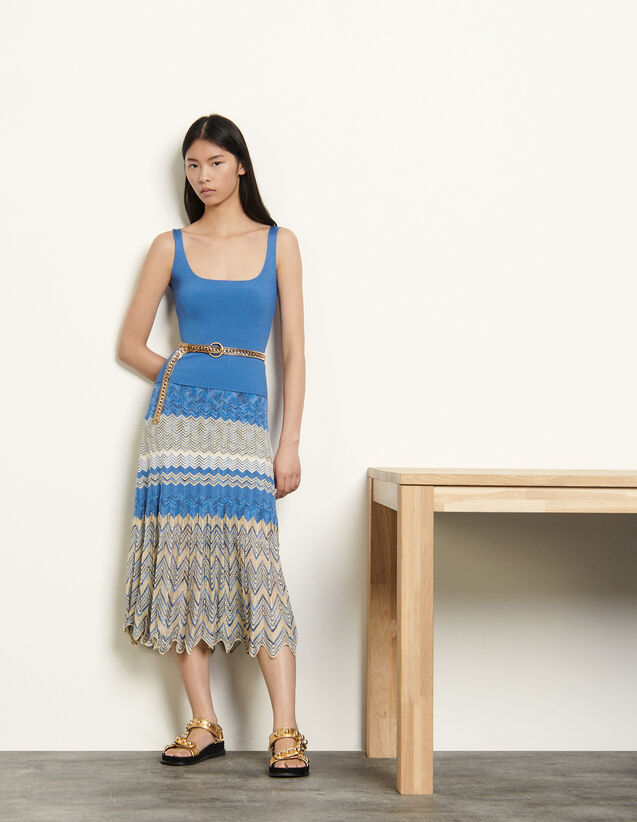 Pointelle Skirt With Chevron Stripes : Skirts & Shorts color Beige / Blue