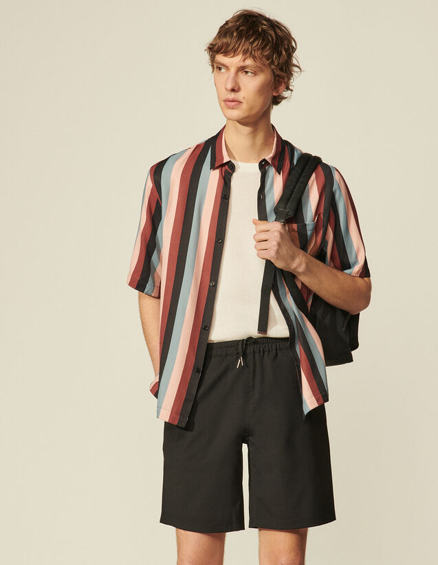 Flowing Shirt With Stripe Print : Shirts color Stripe Orage-peach-teck-gris