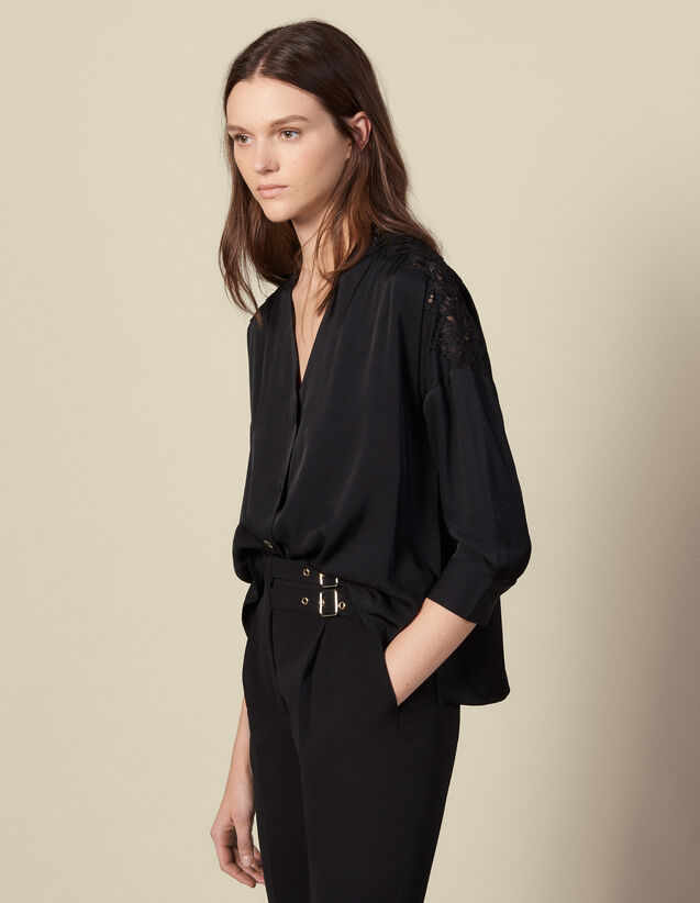 Blouse With A Guipure Insert : Shirts color Black