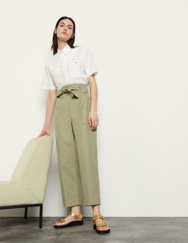 Wide-Leg Trousers With Tie Belt : Pants color Argile