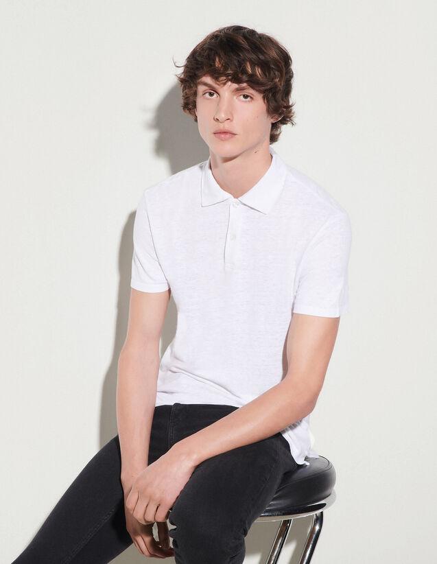 Linen Polo Shirt : 50%off color white