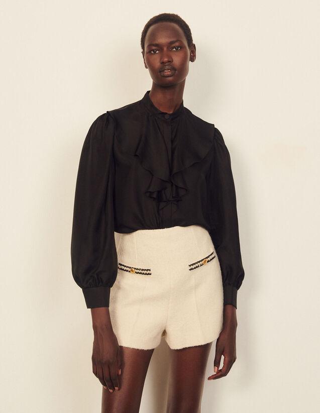 Silk Shirt With Jabot Collar : Shirts color Black