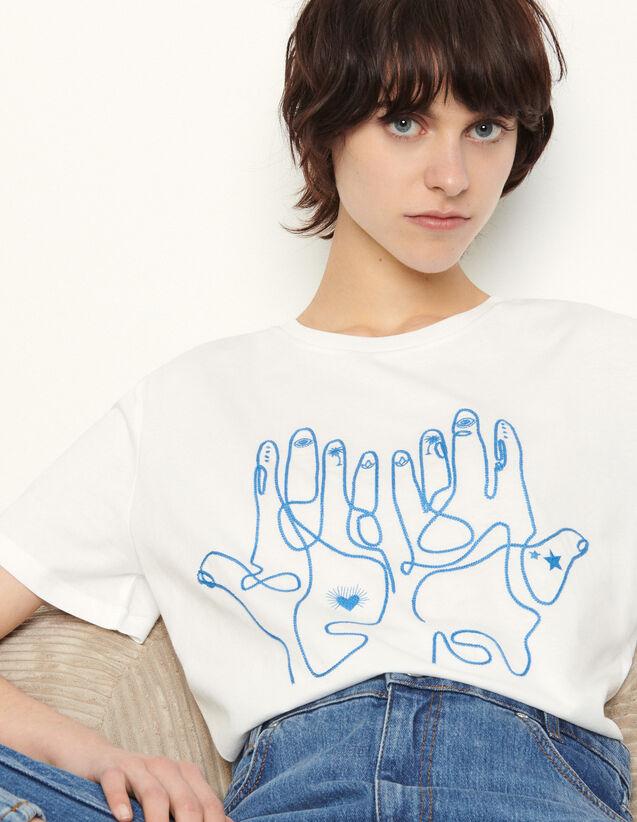Cotton T-Shirt With Embroidery : T-shirts color white