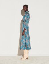 Long All-Over Silk Print Dress : Dresses color Petrol blue / Orange