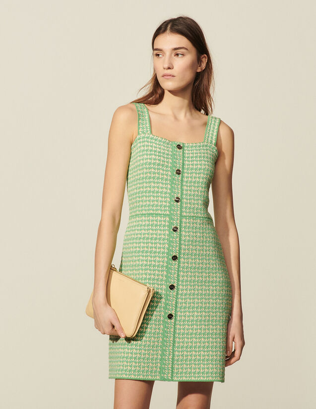 Strappy Dress In Fancy Tweed : Dresses color Green