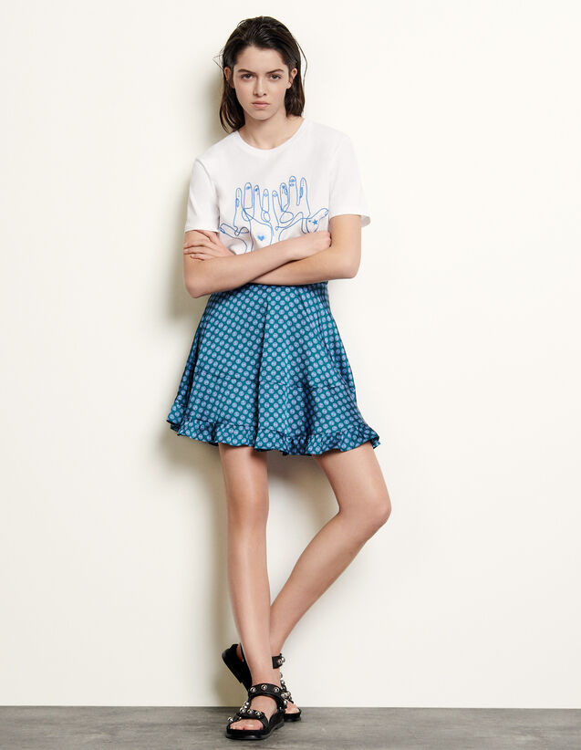 Short Printed Skirt With Ruffles : Skirts & Shorts color Forest Green
