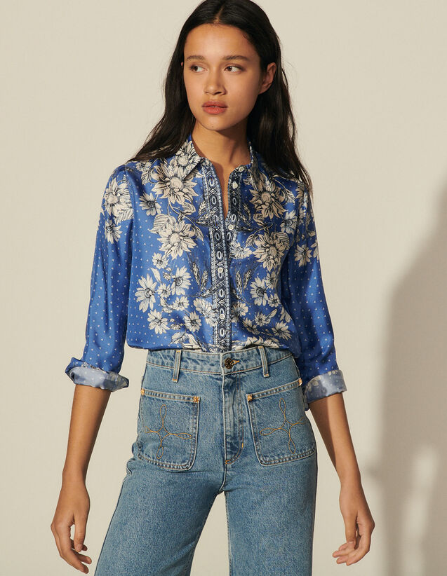 Printed Silk Shirt : Spring Summer Collection color Blue