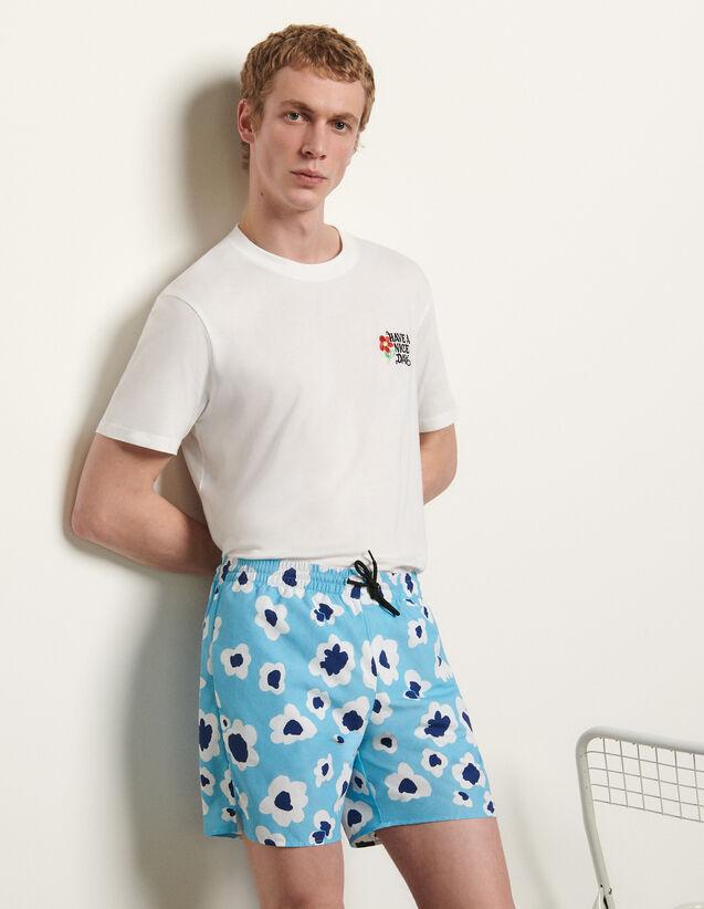 Printed Swim Shorts : Pants & Shorts color Blue