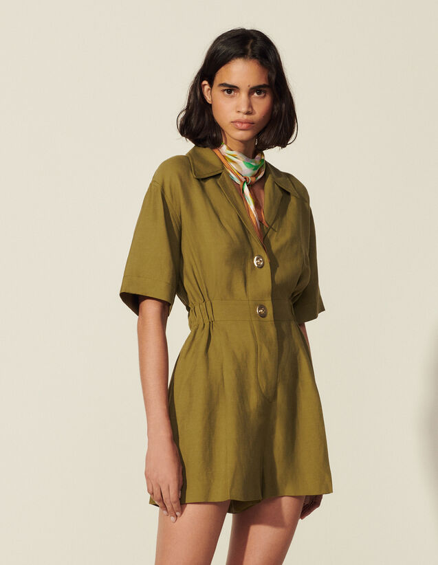 Playsuit With Fancy Buttons : View All color Olive Green