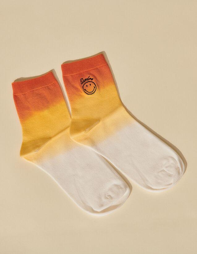 Smiley Tie-Dye Socks : Other accessories color Orange / Light yellow