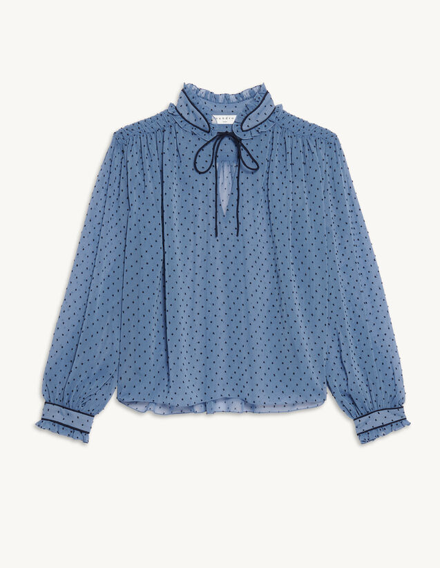 Dotted Swiss High-Neck Top : Tops color Blue