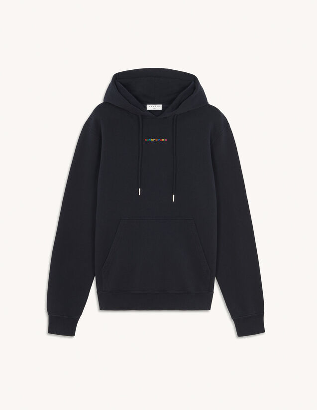 Hoodie With Multicoloured Embroidery : Sweatshirts color Navy Blue