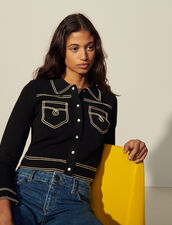 Topstitched Denim-Style Milano Cardigan : Sweaters & Cardigans color Black