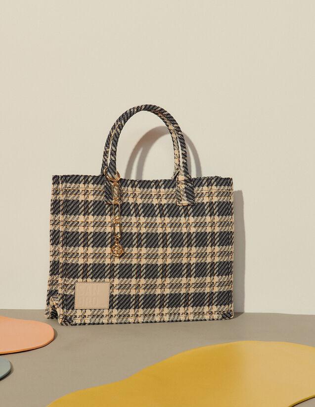 Checked Tweed Tote Bag : My Kasbah Bag color Navy Blue