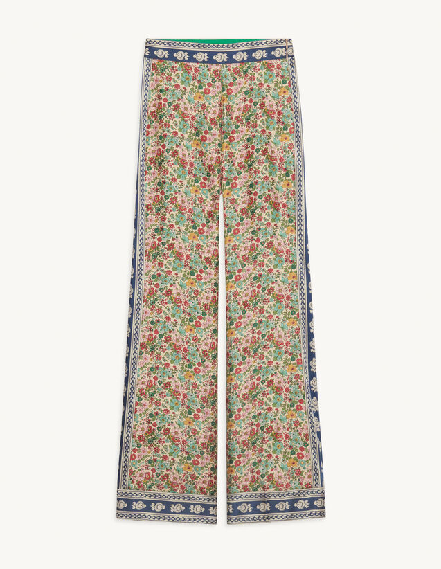 Flowing Dual-Material Trousers : Pants color Green / Pink