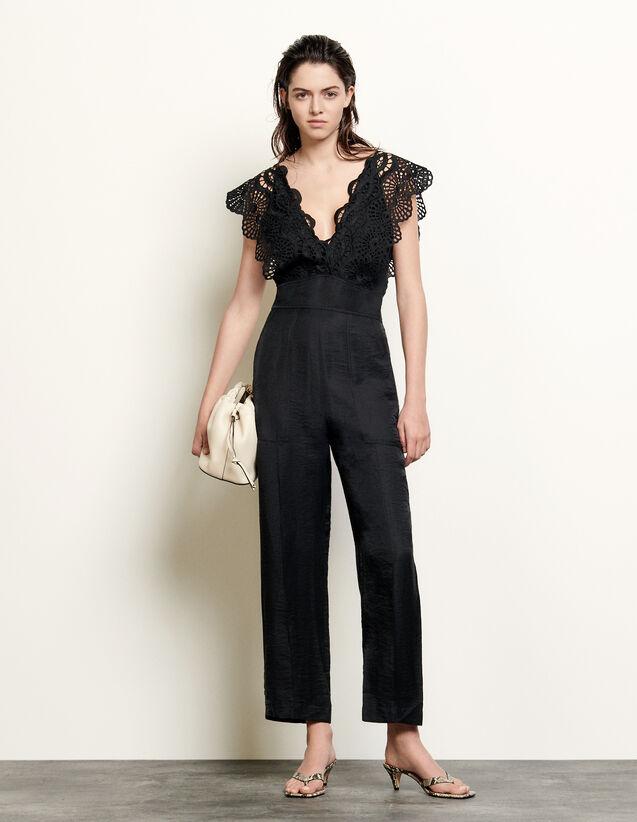 Sleeveless Linen Jumpsuit : Jumpsuits color Black