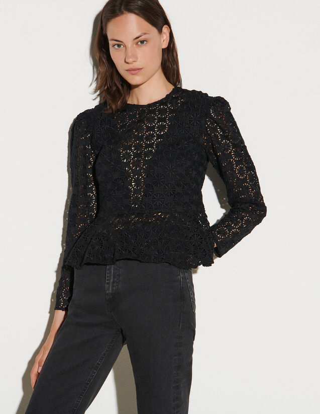Guipure Top With Peplum : Tops color Black