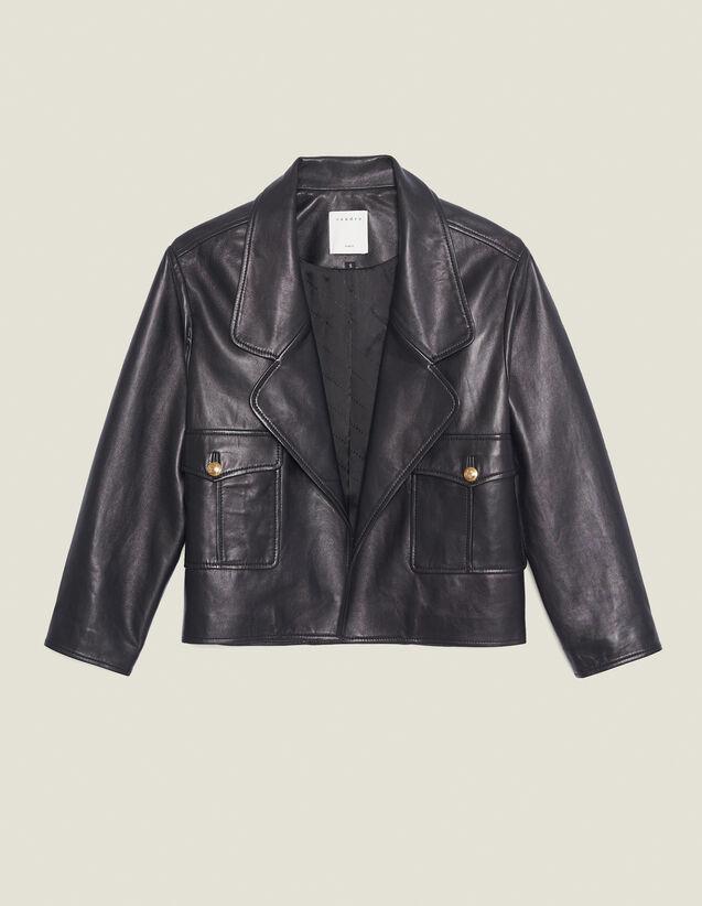 Short Tailored Leather Jacket : Blazer & Jacket color Black