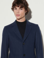 Long Coat Fastened With Three Buttons : Jackets & Coats color Pétrol Blue