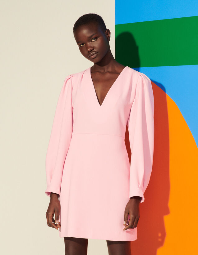 Short Dress With Pleats And Draping : Spring Summer Collection color Pink
