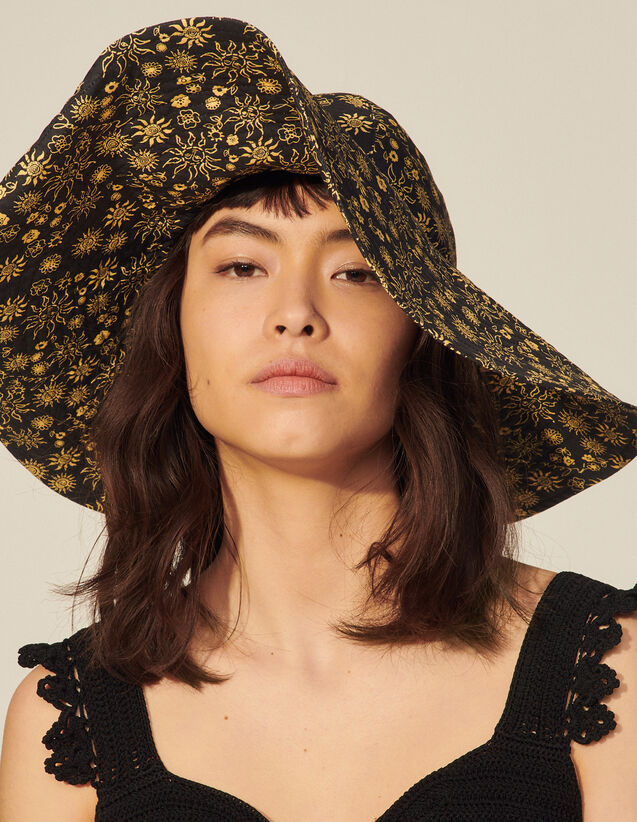 Printed Cotton Floppy Hat : View All color Ecru