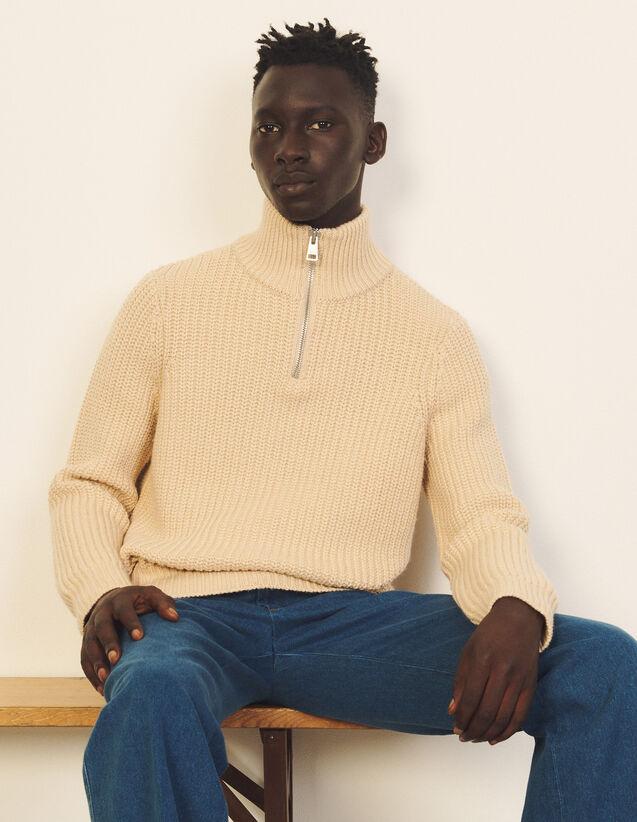 Trucker-Neck Sweater : Sweaters & Cardigans color Beige
