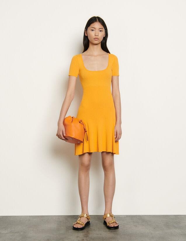 Short Ribbed Knit Dress : Dresses color Orange