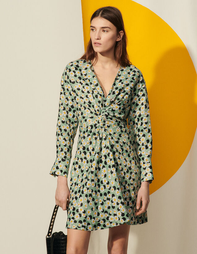 Short Printed Dress With Gathers : Dresses color Green / Black