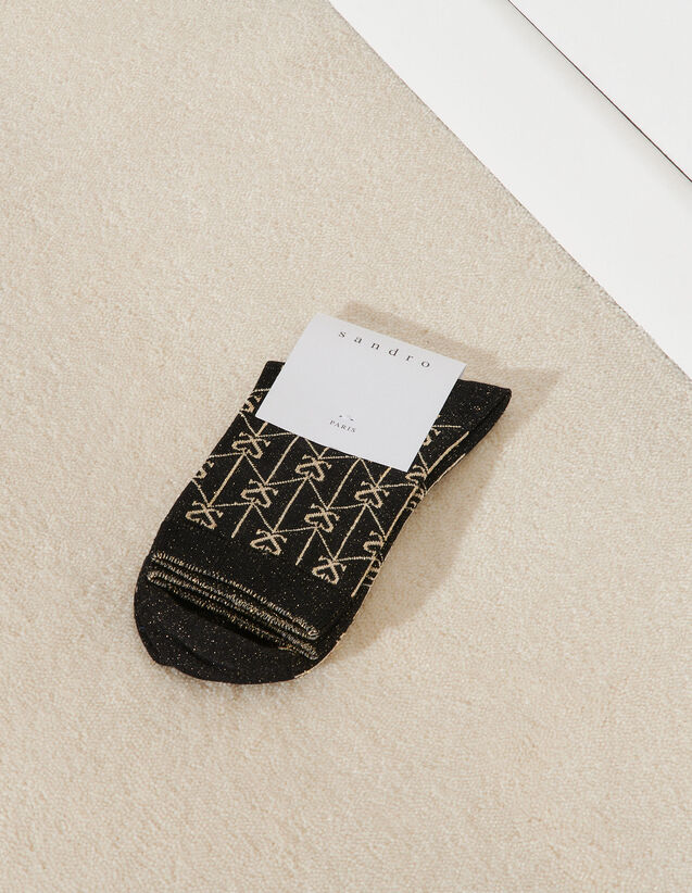 Two-Tone Jacquard Socks : Other accessories color Black / Gold