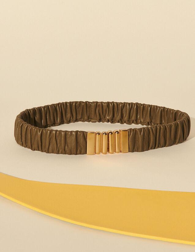 Elasticated Leather Belt : Belts color Olive