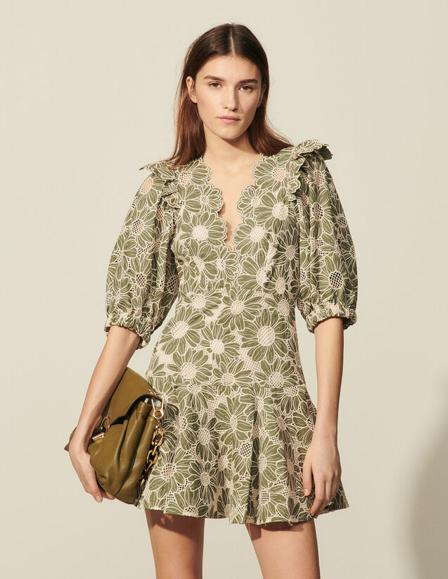 Short Dress In Embroidered Fabric : Dresses color Olive Green