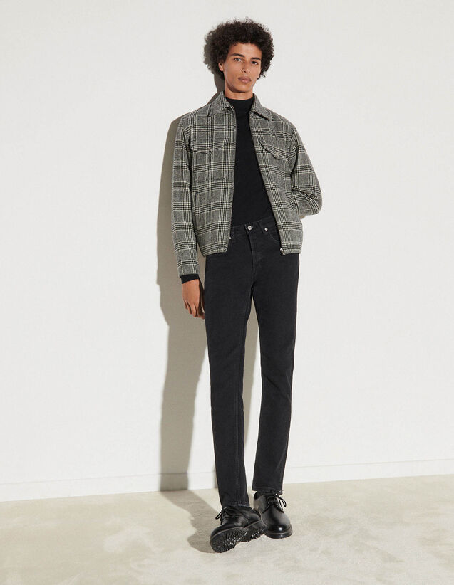 Checked Wool Jacket : Trench coats & Coats color Black/White