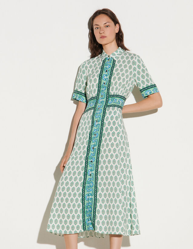Long Printed Shirt Dress : Dresses color Green