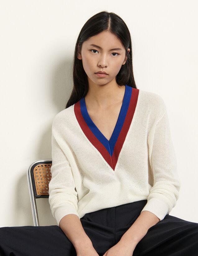Mesh Sweater : Sweaters & Cardigans color Ecru